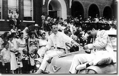 Elvis with Jimmie Rodgers Snow in the parade - Meridian, Mississippi May 26, 1955