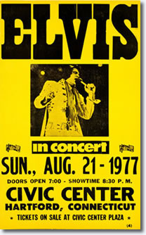 Elvis Presley Concert 22 Aug 8.30pm Uniondale, Ny Canceled