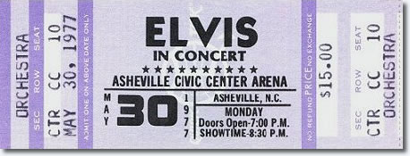Ticket for Elvis Concert that was cancelled.