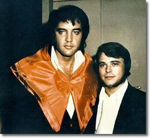 Elvis Presley with Wayne Jackson of the Memphis Horns at Stax Studios in Memphis, July 1973